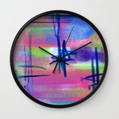 Blue Scribble Background Wall Clock