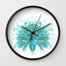 Watercolor Peacock Wall Clock
