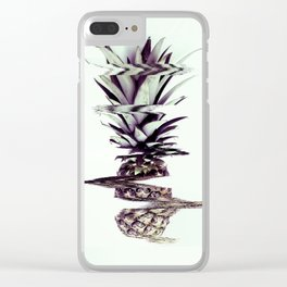 Glitched Pineapple Clear iPhone Case
