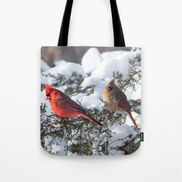 Sunny Winter Cardinals in the Adirondacks Tote Bag