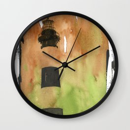 Bodie Island lighthouse at sunset in the Outer Banks (OBX) of North Carolina- USA.  Lighthouse painting fine art watercolor decor  Wall Clock