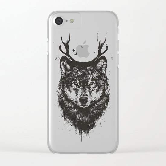 Deer wolf (b&w) Clear iPhone Case