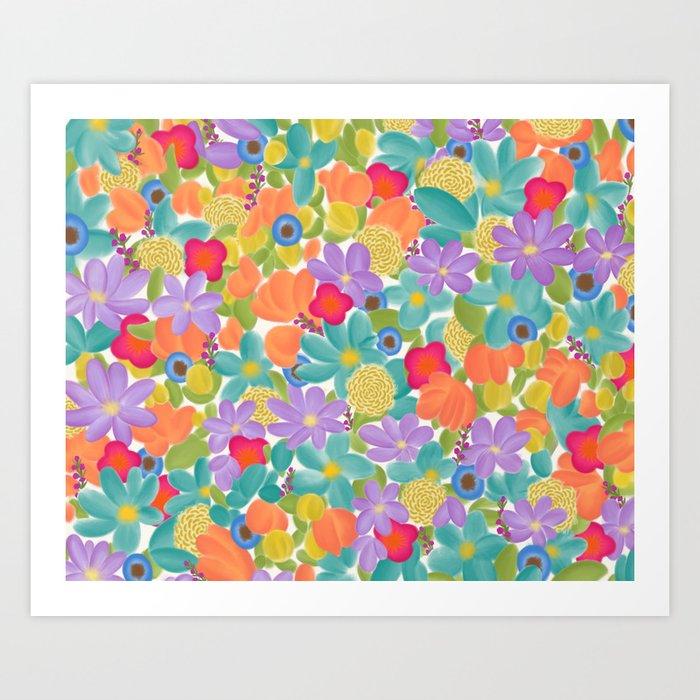 Wild Flowers Design Colorful Feminine Artsy Beautiful White Background Art Print By Aej Design