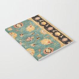 Oushak  Antique Gold Teal Turkish Rug Print Notebook