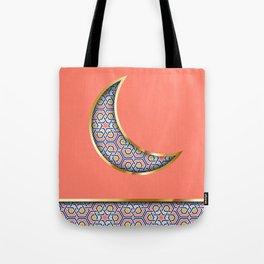 Patterned crescent on living coral pink Tote Bag