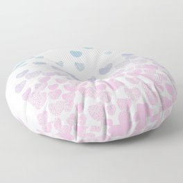 Hearts falling ombre blue and pastel pink cotton candy wonderland Floor Pillow
