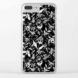 Colourscape Summer Floral Pattern Black and White Clear iPhone Case