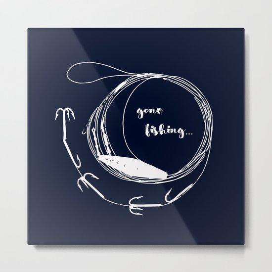 Gone fishing- illustration on marine blue Metal Print