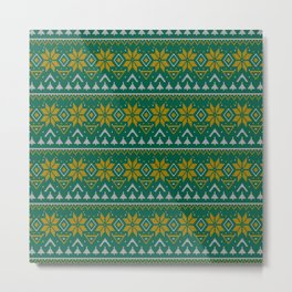 Knitted Christmas pattern green Metal Print
