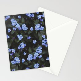 Blue Dark Floral Garden: Forget-me-nots Stationery Cards
