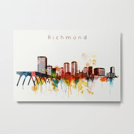 Watercolor Richmond Virginia Skyline Metal Print