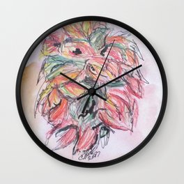 Colored Pencil Flowers Wall Clock