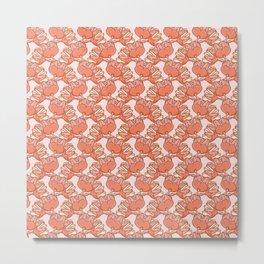 Floral Shaped Fruits Pattern Metal Print
