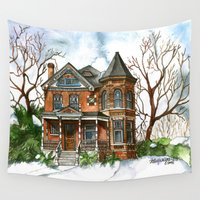 victorian Wall Tapestries featuring Victorian Winter by Shelley Ylst Art