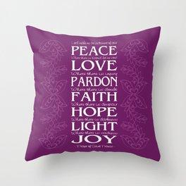 Prayer of Saint Francis -Orchid Throw Pillow