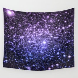 Galaxy Sparkle Stars Purple Periwinkle Blue Wall Tapestry