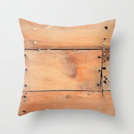 Wooden ship board with nails and screws Throw Pillow