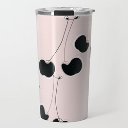 Les Cerises -Pink & Black Cherry Line Art Travel Mug