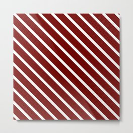 Red Velvet Diagonal Stripes Metal Print