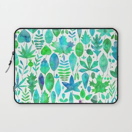 Modern green aqua blue watercolor greenery leaves Laptop Sleeve