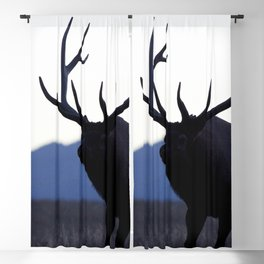 Watercolor Elk Bull 52, Walk Slowly Backwards Blackout Curtain
