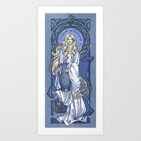 hallion Art Prints featuring Galadriel Nouveau by Karen Hallion Illustrations