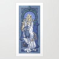 nouveau Art Prints featuring Galadriel Nouveau by Karen Hallion Illustrations