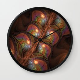 Colorful Fluorescent Abstract Modern Brown Fractal Wall Clock