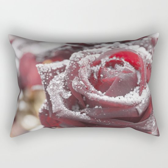 Frozen rose- with hoarfrost covered rose Rectangular Pillow