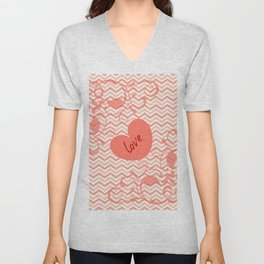 Chevron Love Peach Unisex V-Neck