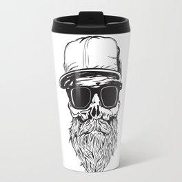 skull with beard Travel Mug