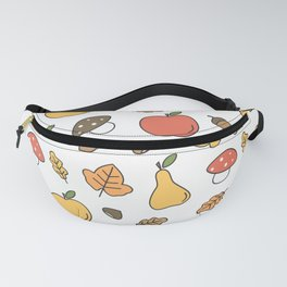 cute colorful autumn fall pattern with pears, apples, leaves, acorns, chestnuts and mushrooms Fanny Pack