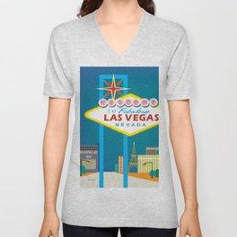 Las Vegas, Nevada - Skyline Illustration by Loose Petals Unisex V-Neck