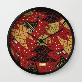 Funky Winter Pine Trees Hats Gold Black Red Background Pattern Wall Clock