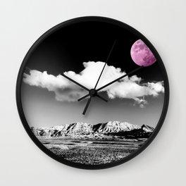 Black Desert Sky & Fuchsia Moon // Red Rock Canyon Las Vegas Mojave Lune Celestial Mountain Range Wall Clock