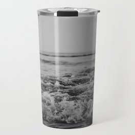 Black and White Pacific Ocean Waves Travel Mug