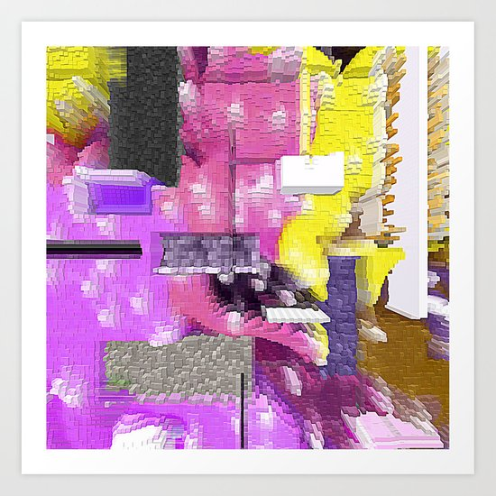Pink and More Abstract Stacked Design Art Print