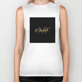 Name and initial of a girl Michelle in golden letters Biker Tank