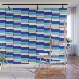 Staggered Oblong Rounded Lines Blues and White - Stripe Pattern Wall Mural
