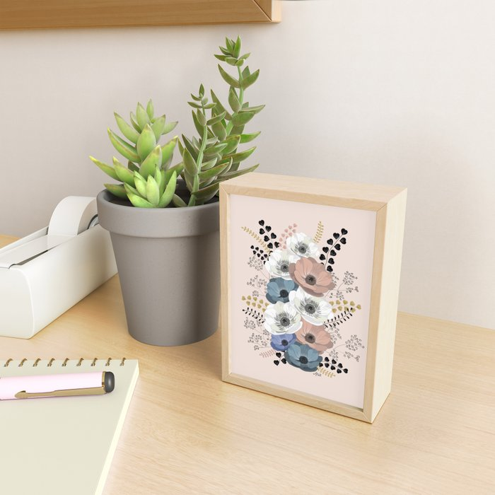 Anemones bouquet pink pastel Framed Mini Art Print