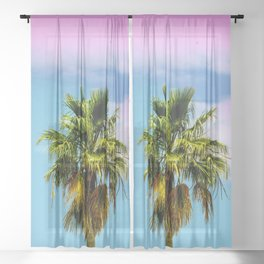 Pink Cloud, Blue Sky, and Palm Tree Sheer Curtain