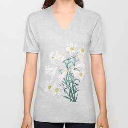 white lily branch watercolor Unisex V-Neck