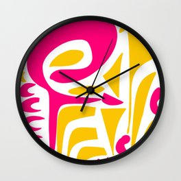 Summer Pop abstract pattern pink and yellow Wall Clock