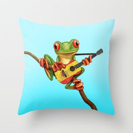 Tree Frog Playing Acoustic Guitar with Flag of Spain Throw Pillow