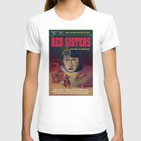 "book cover T-shirts featuring ""Red Sisters"" Book Cover by 7 Hells: Retro Horror art of Bill Rude"