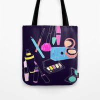makeup Tote Bags featuring Retro Makeup by minniemorrisart