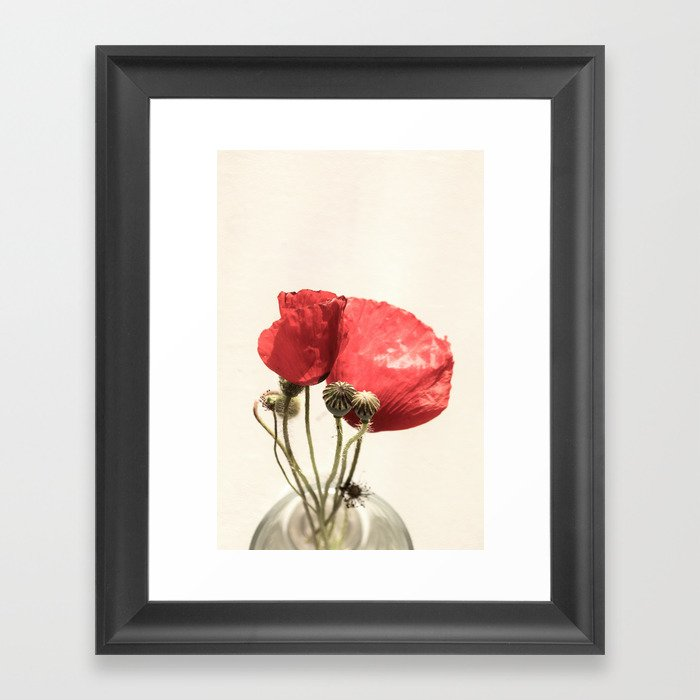 Poppies In Vase Framed Art Print