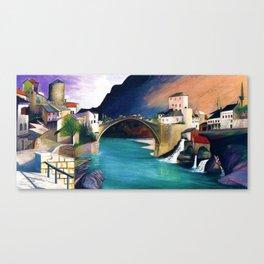 Mostar Old Town Panorama, Stari Most Bridge, Bosnia and Herzegovina by Tivadar Csontváry Kosztka Canvas Print