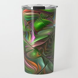 Colorful and Luminous, Abstract Fractal Art Travel Mug