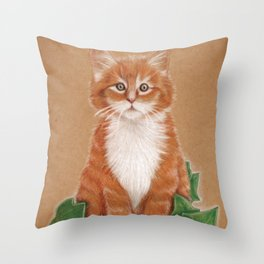 Poison Kitty, red little cat Throw Pillow